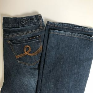 Seven7 High Rise Boot Cut Contrast Stitch Jeans